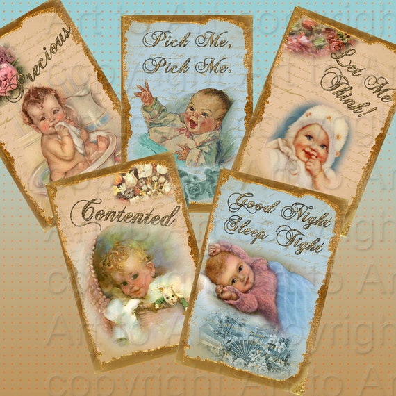 Vintage BABY TAGS Style Digital  images (212)  Collage for crafts, scrapbooking,  cards,ATC's. ACEOs Instant download