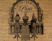 Dress Form Paris Address Fashion French Text Digital Image Download Transfer To Pillows Tote Tea Towels Burlap No. 1322