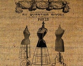 Dress Forms Crown French Text Digital Image Download Transfer To Pillows Tote Tea Towels Burlap No. 1445