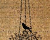 Digital Download Burlap Collage Sheet Bird Silhouette Chandelier Transfer To Pillows Totes Tea Towels Burlap No.1429