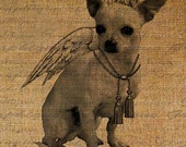 White Chihuahua Angel Wings Digital Image Download Sheet Transfer Pillows Tote Bags Tea Towels Burlap No. 1614