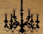 Chandelier Silhouette LIghted Candles Ornate Digital Image Download Transfer For Pillows Totes Tea Towels Burlap No.1617