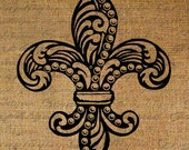 Fleur de Lis Ornate Intricate Design French Digital Image Download Sheet Transfer To Pillows Tote Tea Towels Burlap No. 1623