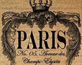 Paris Champs Elysees Crown Ornate Digital Image Download Transfer For Pillows Totes Tea Towels Burlap No. 1661