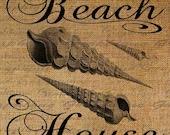 Beach House Shells Ocean Seashore Digital Image Download Transfer To Pillows Tote Tea Towels Burlap No. 1554