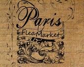 Paris Flea Market French Ornate Digital Image Download Sheet Transfer To Pillows Totes Tea Towels Burlap No. 1705