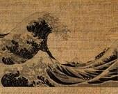 Giant Wave Beach Ocean Seashore Burlap Digital Image Download Transfer To Pillows Tote Tea Towels Burlap No. 1733