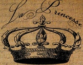 French Word For Princess La Princesse Crown Royalty Digital Image Download Transfer To Pillows Tote Bags Tea Towels Burlap No. 1959