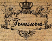 TREASURES Text Word Ornate Frame Crown Digital Image Download Sheet Transfer To Pillows Totes Tea Towels Burlap No. 2087