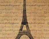 Eiffel Tower Paris Digital Image Download Transfer To Pillows Tote Tea Towels Burlap No. 2202
