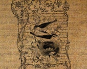 French Handwriting Collage Bird Frame Paris Address Script Digital Image Download Sheet Transfer To Pillows Totes Tea Towels Burlap No. 2166