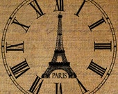 Clock Eiffel Tower Paris France French Roman Numerals Large Digital Image Download Transfer To Pillows Tote Tea Towels Burlap No.2709