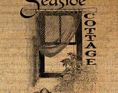 Digital Download Burlap Fabric Transfer SEASIDE COTTAGE Quote Shells Ocean Seashore Iron On Pillows Tote Tea Towels No. 2674