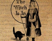 HALLOWEEN Digital Burlap Collage Sheet Download  Fabric Transfer The WITCH is IN TeXt Cat Iron On Pillows Tote Tea Towels 3007