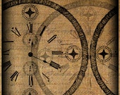 Clock Faces Collage Grunge Steampunk Large Digital Image Download Transfer To Pillows Tote Tea Towels Burlap No. 3300