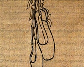 BALLET Toe SHOES Dance Dancing Dancer Digital Image Download Transfer For Pillows Totes Tea Towels Burlap No.3848