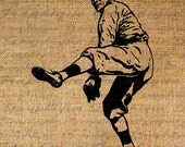 BASEBALL PITCHER Pitching Draws Back SPORTS Digital Collage Sheet Download Burlap Fabric Transfer Iron On Pillows Totes Tea Towels No 3866 - Graphique
