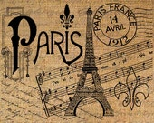 PARIS Eiffel POST MARK Music Writing Digital Collage Sheet Download Burlap Fabric Transfer Iron On Pillows Totes Tea Towels No. 4063