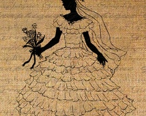 Pretty Little Girl Silhouette Dress Up White Gown Bride Wedding Digital Image Download Transfer To Pillows Totes Tea Towels Burlap No. 2470
