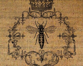 Queen Bee Crown Ornate Frame Digital Image Download Transfer To Pillows Tote Tea Towels Burlap No. 1361