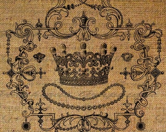 Crown Jewels Royalty Frame Queen Digital Image Download Transfer To Pillows Tote Tea Towels Burlap No. 1364