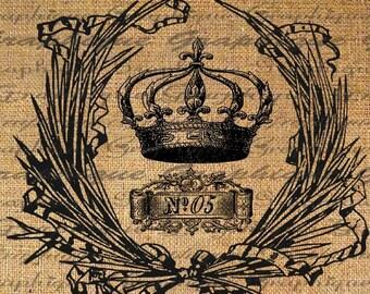 Crowns Crown No 05 Royal Text Digital Image Download Transfer To Pillows Tote Tea Towels Burlap No. 1699