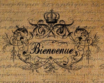 Welcome French  BIENVENUE Text Typography Word Digital Image Download Sheet Transfer To Pillows Totes Tea Towels Burlap No. 2010