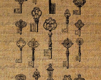 Lots of Ornate Antique Keys Digital Image Download Transfer To Pillows Tote Tea Towels Burlap No. 1750