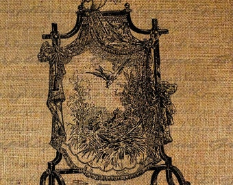 Screen with Birds Nest Flying Flowers Bird Digital Image Download Transfer To Pillows Tote Tea Towels Burlap No. 1900