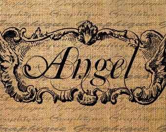 ANGEL Ornate WINGED Frame Typography Word Digital Image Download Sheet Transfer To Pillows 7otes Tea Towels Burlap No. 2047