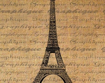 Eiffel Tower Paris Digital Image Download Transfer To Pillows Tote Tea Towels Burlap No. 2202