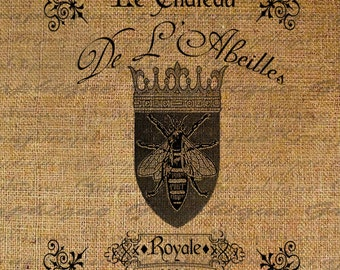 French Queen Bee Crown Writing Text Digital Image Download Transfer To Pillows Tote Tea Towels Burlap No. 2318