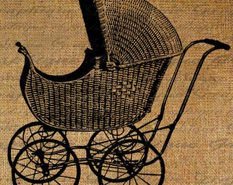 Stroller Baby Carriage Toddler Pram Pregnant Digital Image Download Transfer To Pillows Tote Tea Towels Burlap No. 2343