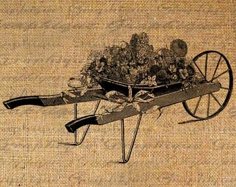 Antique Wheelbarrow Flowers Floral Garden Digital Image Download Sheet Transfer To Pillows Totes Tea Towels Burlap No. 2471