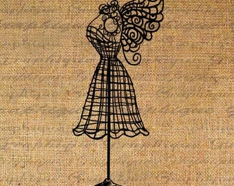 Wire Dress Form Fairy Wings Fashion Digital Image Download Transfer To Pillows Tote Tea Towels Burlap No. 2623