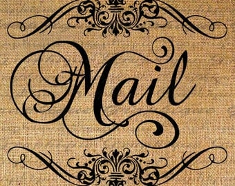 Mail in Frame Script Text Typography Word Digital Image Download Sheet Transfer To Pillows Totes Tea Towels Burlap No. 2627