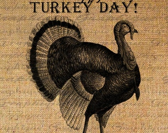 Burlap Digital Download Transfer THANKSGIVING Text TURKEY DAY Typography Image Iron On Pillow Tote Tea Towels  No. 2871