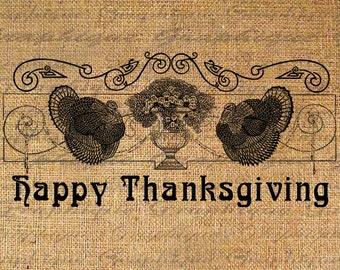 Digital Burlap Collage Fabric Transfer HAPPY THANKSGIVING Text TURKEYS Gratitude Typography Image Iron On Pillow Tote Tea Towels  No. 3014