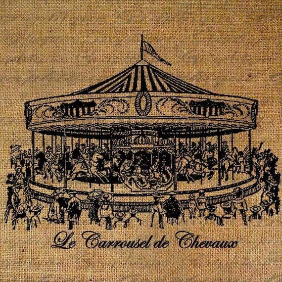 Burlap Scrapbooking Carousel Horses French Text Digital Image Download Transfer To Pillows Tote Tea Towels Burlap No. 1058
