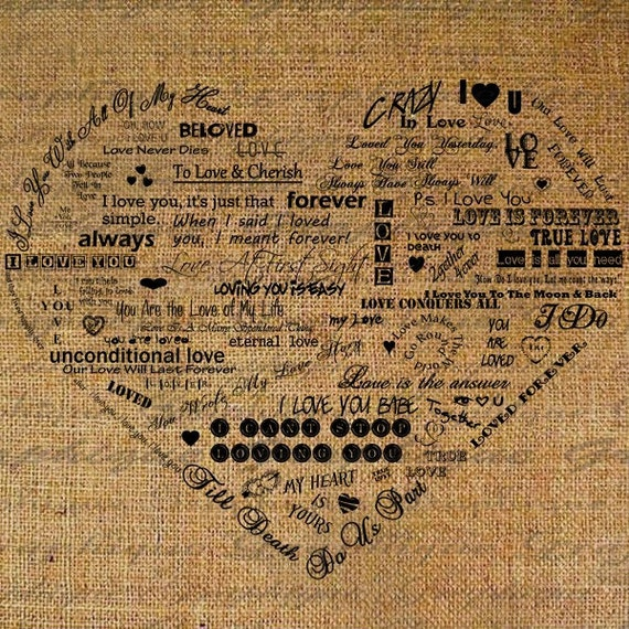 Heart Made From Love Words Quotes Digital Image by Graphique