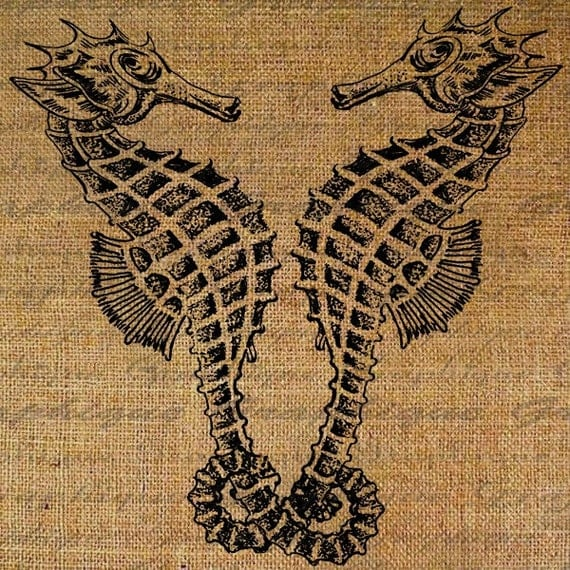 Digital Image Download Collage Sheet Burlap Sea Horses Entwined  In Love Beach Ocean Transfer To Pillows Totes Tea Towels No. 1706