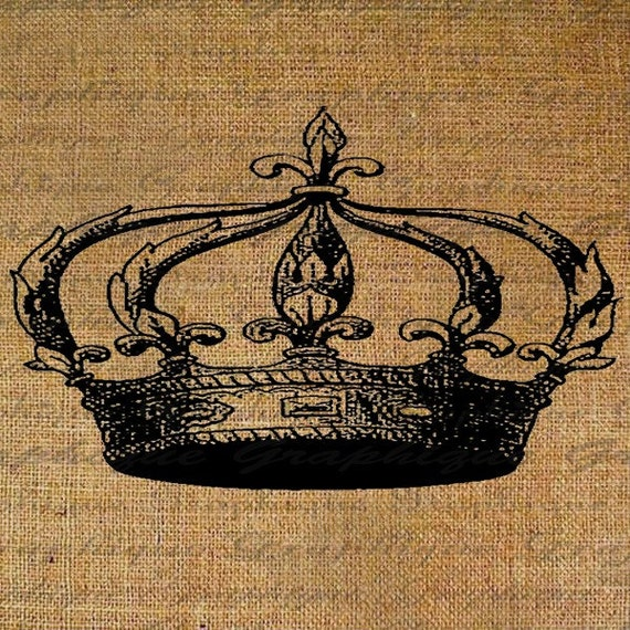 French Crown Royalty Digital Image Download Transfer To Pillows Tote Bags Tea Towels Burlap No. 1957