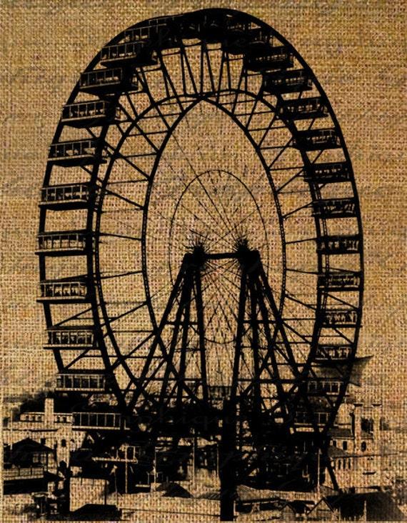 Ferris Wheel Amusement Park Ride Rides Entertainment Fair Digital Image Download Transfer To Pillows Tote Tea Towels Burlap No. 2325