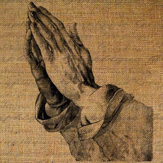 Praying Hands Prayer Christianity Christian Religious Digital Image Download Sheet Transfer To Pillows Totes Tea Towels Burlap No. 2571