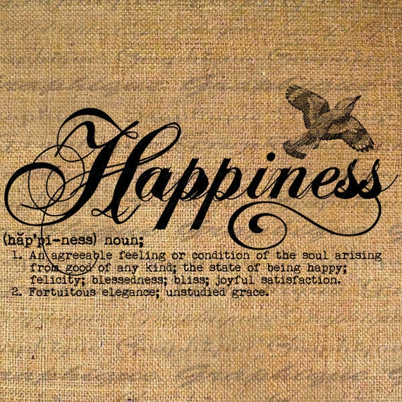 A Word Of Happiness: Definition Happiness Text Typography Words Digital Image