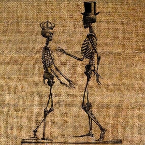 Burlap Digital Download Halloween Skeleton In Love Skull Crown Top Hat Steampunk Collage Sheet Fabric Transfer Pillows Tote Tea Towels 2923