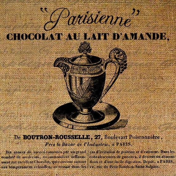 Parisiene CHOCLATE TEAPOT French Text Digital Collage Sheet Download Burlap Fabric Transfer TEA Iron On Pillows Totes Tea Towels No. 3520