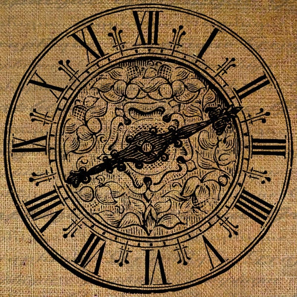 Large Clock Face Roman Numerals Ornate Time Digital by Graphique