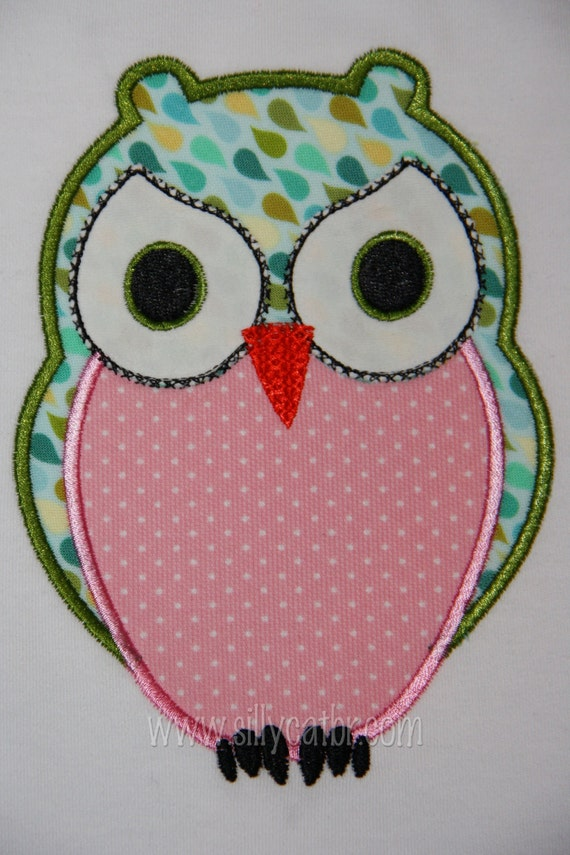 Owl Applique Machine Embroidery Design By SillyCatDesigns