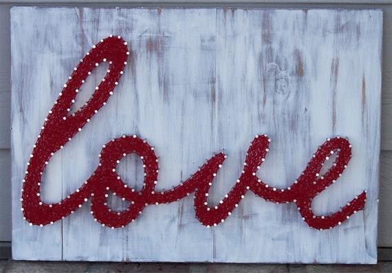 "Mixed Media Nail and Thread ""love"""